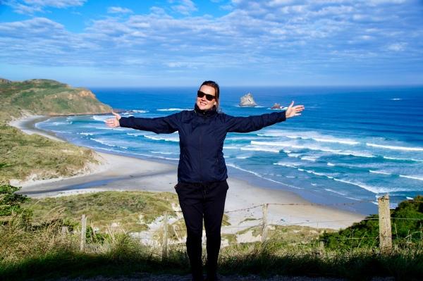 Blick in die Sandfly Bay auf der Otago Peninsula